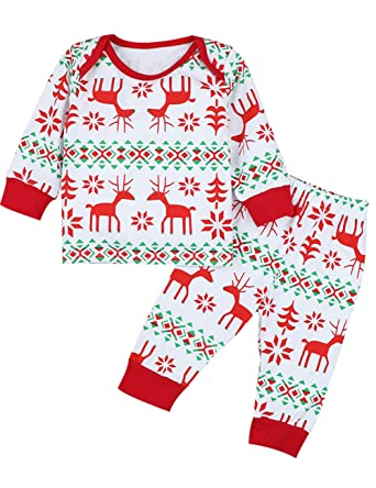 christmas newborn baby boy girl pajamas set unisex long sleeve sleepwear outfit set 0 6