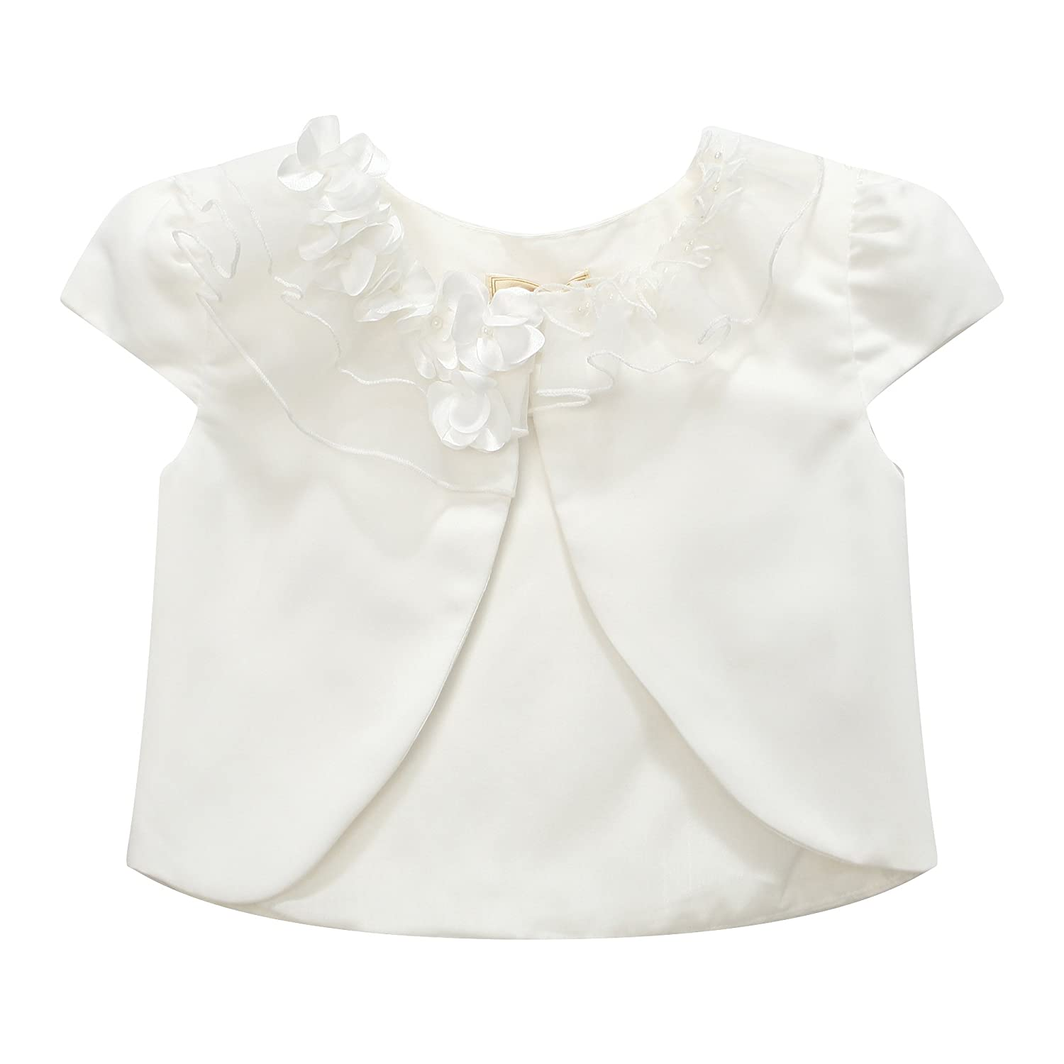 Richie House Girls' Top with Florals and Pearl Accents RH0938