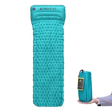 Colchoneta para Dormir Ultraliviana de Hikenture - Colchón de aire para Campamento Inflable con Almohada Incorporada - Compacto y a Prueba de Humedad - para ...