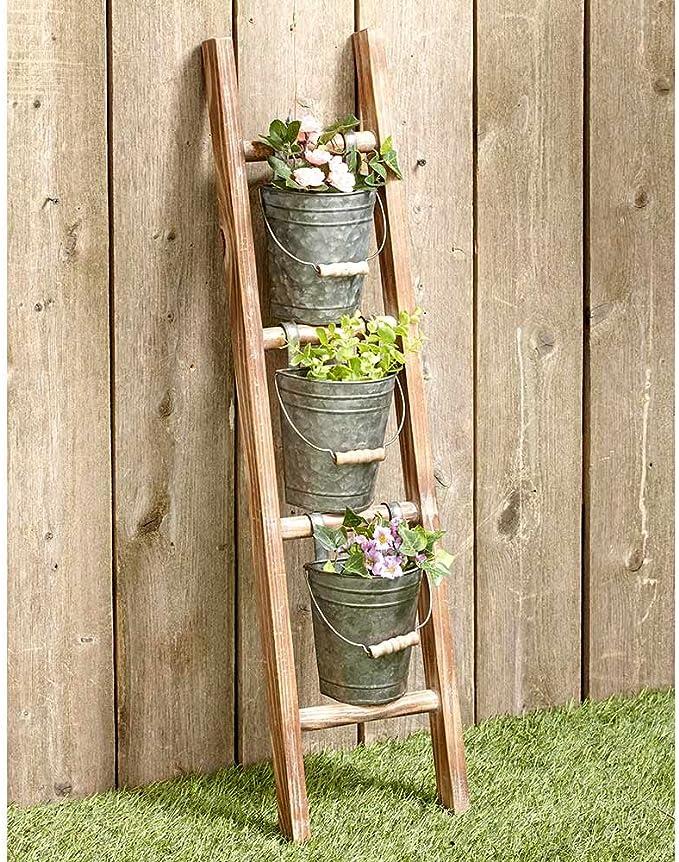 Maceta galvanizada, Juego de Escalera de Pared para macetas: Amazon.es: Jardín