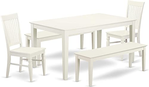 CANO5C-LWH-W 5 Piece dining for 6-Dining room table and 2 Chairs and 2 Benches in Linen White