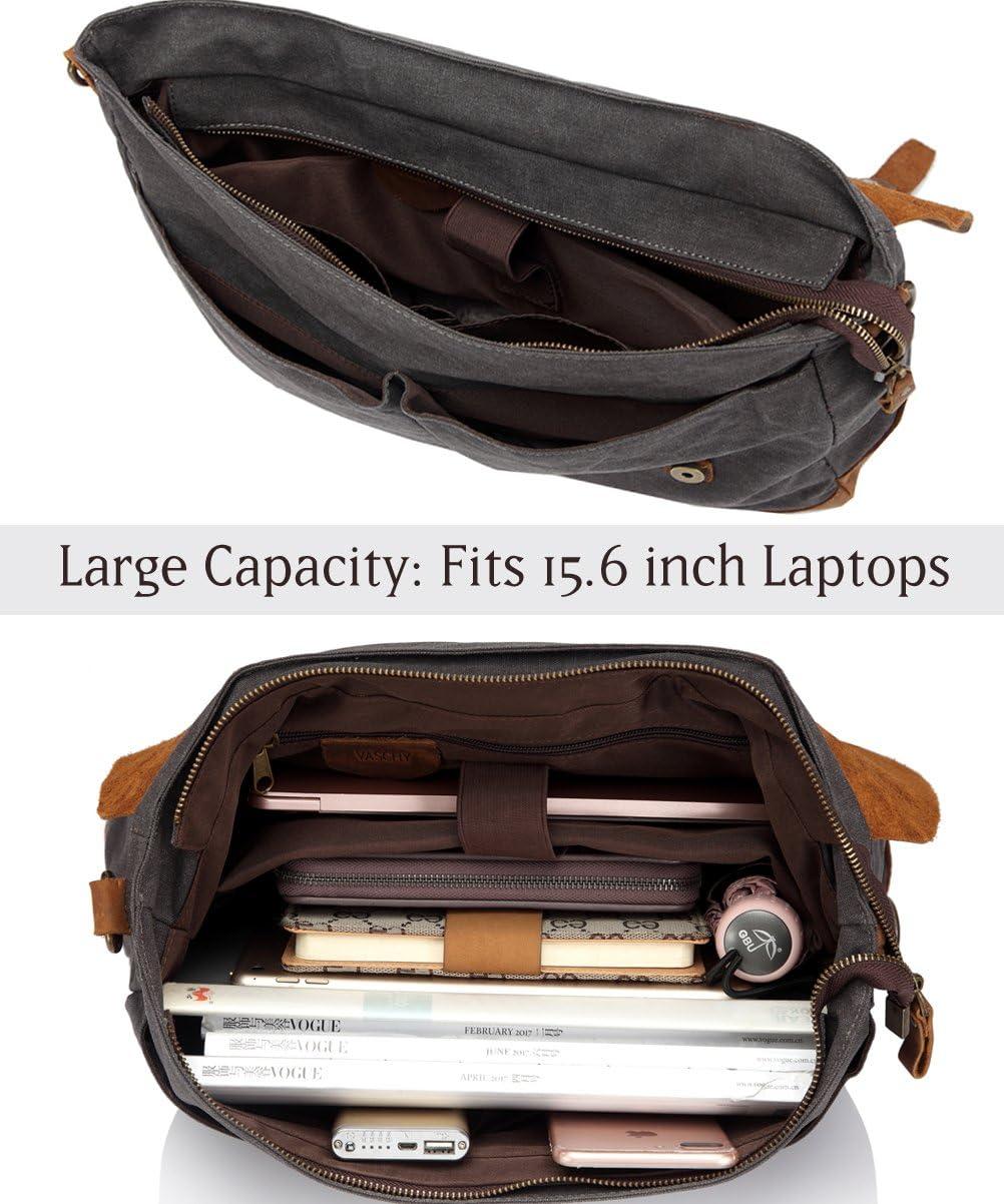 Leather Canvas Messenger Bag for Men,15.6 inch Laptop Vintage Satchel Business Briefcase Shoulder Bag