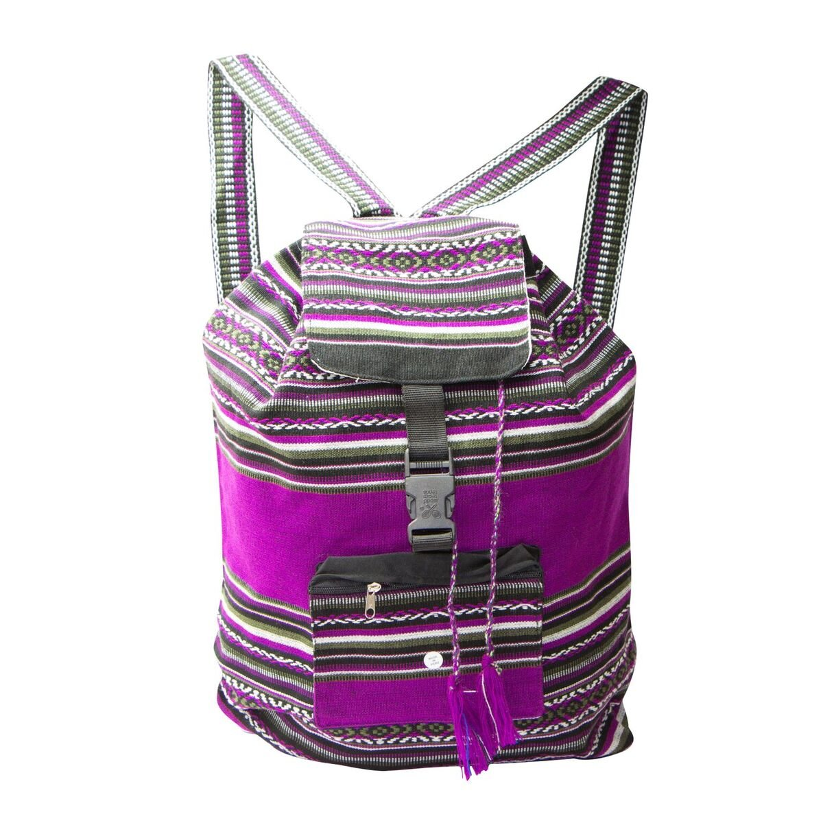 Handmade Lightweight, Water Resistant Washable Unisex Day Bag with Extra Storage Pockets for -Gym, Travel, Beach, Backpack, School, Hiking, Carry-on Luggage (Purple)