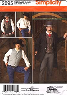 product image for Simplicity 2895 Wild West Cowboy Sewing Pattern for Adult Men Halloween Costumes by Buckaroo Bobbins Pattern, Sizes 38-44
