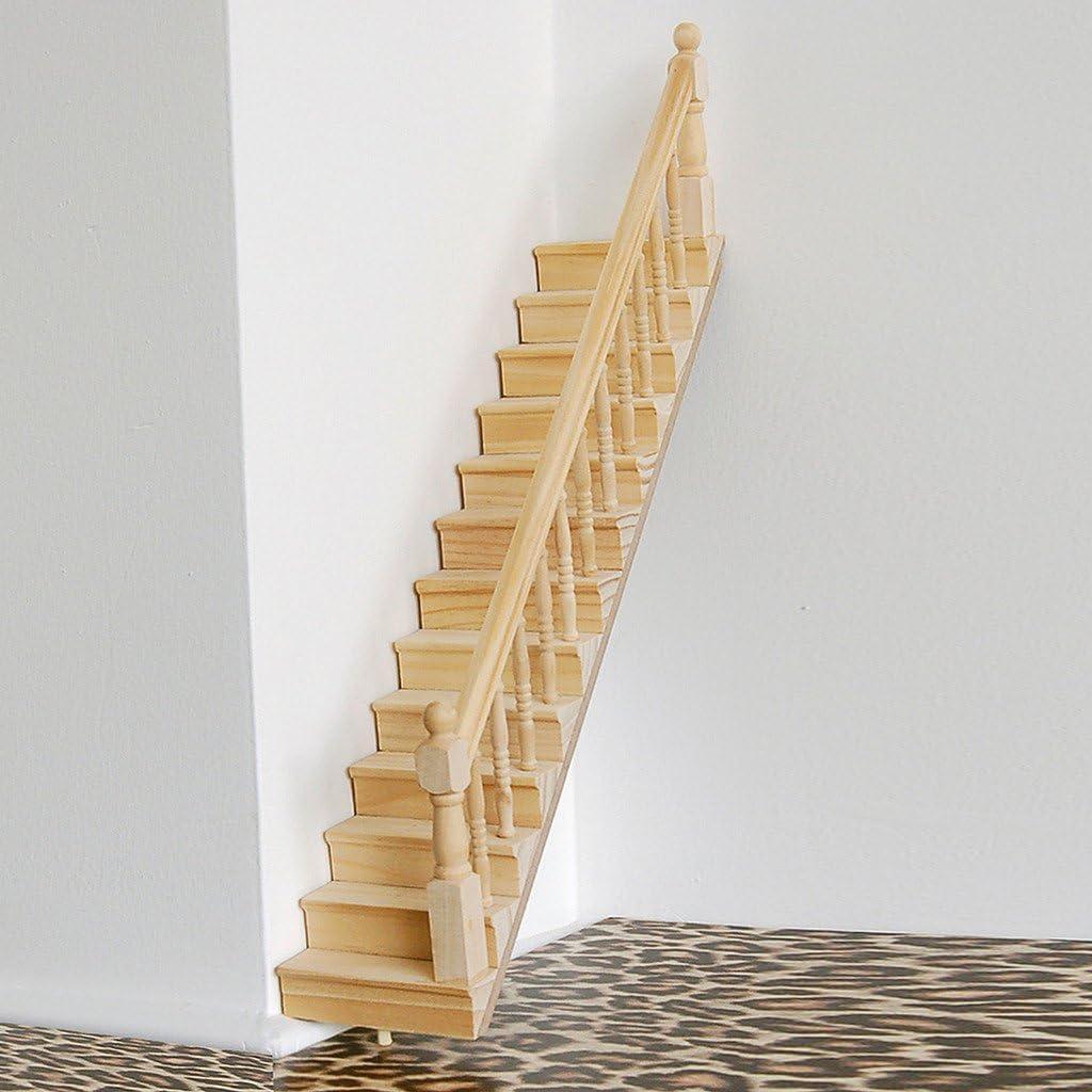 V de ewige 01.12 Casa de Muñecas Madera Escaleras con barandilla muñecas premontados DIY de diseño para muebles nuevo Recht: Amazon.es: Hogar