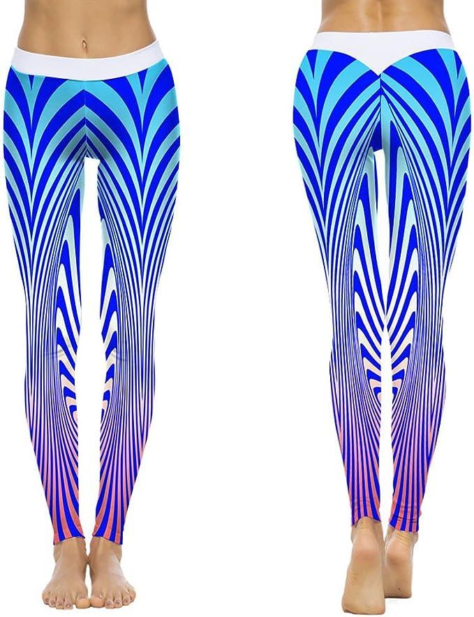 Mallas Deportivas Mujer Pantalones Yoga Rayas Impresión ...