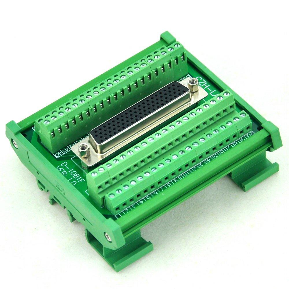 Electronics-Salon DIN Rail Mount D-SUB DB78HD Female Interface Module, Breakout Board, DSUB DB78.