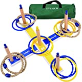 EVERICH TOY Yard Games for Kids and Adults-Ring Toss Game for Kids-Lawn Outdoor Games for Family-Easy to Assemble-with 10 Plastic Ring and 5 Ropes,1 Carry Bag