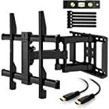 Perlegear TV Wall Bracket Max VESA 600x400 mm For 37-70 Inch LED LCD Plasma & Curved Screens up to 60kg Wall Mount Tilt Swivel Includes 1.8m HDMI Cable