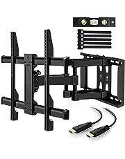 Support Mural TV Perlegear pour écrans 37-70 Pouces LED LCD Plasma et courbé Support TV Inclinable et orientable avec câble HDMI 1.8m