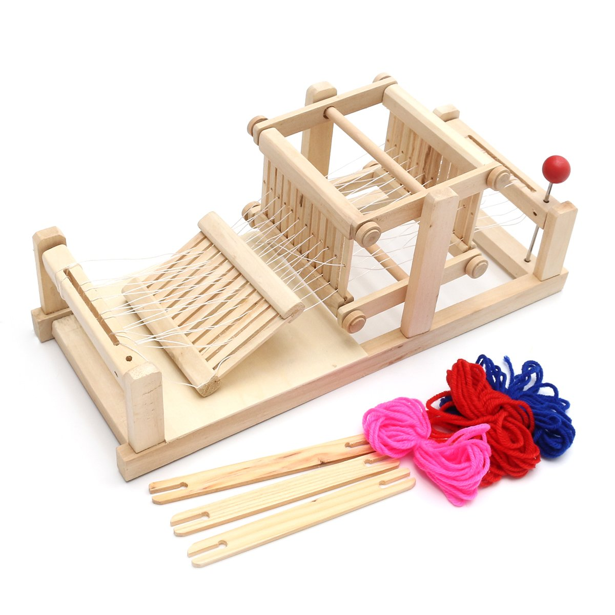 KINGSO Loom Wooden Table Weaving Toy with Accessories Hand Craft Toy for Kids KINGSOokiuhg3043