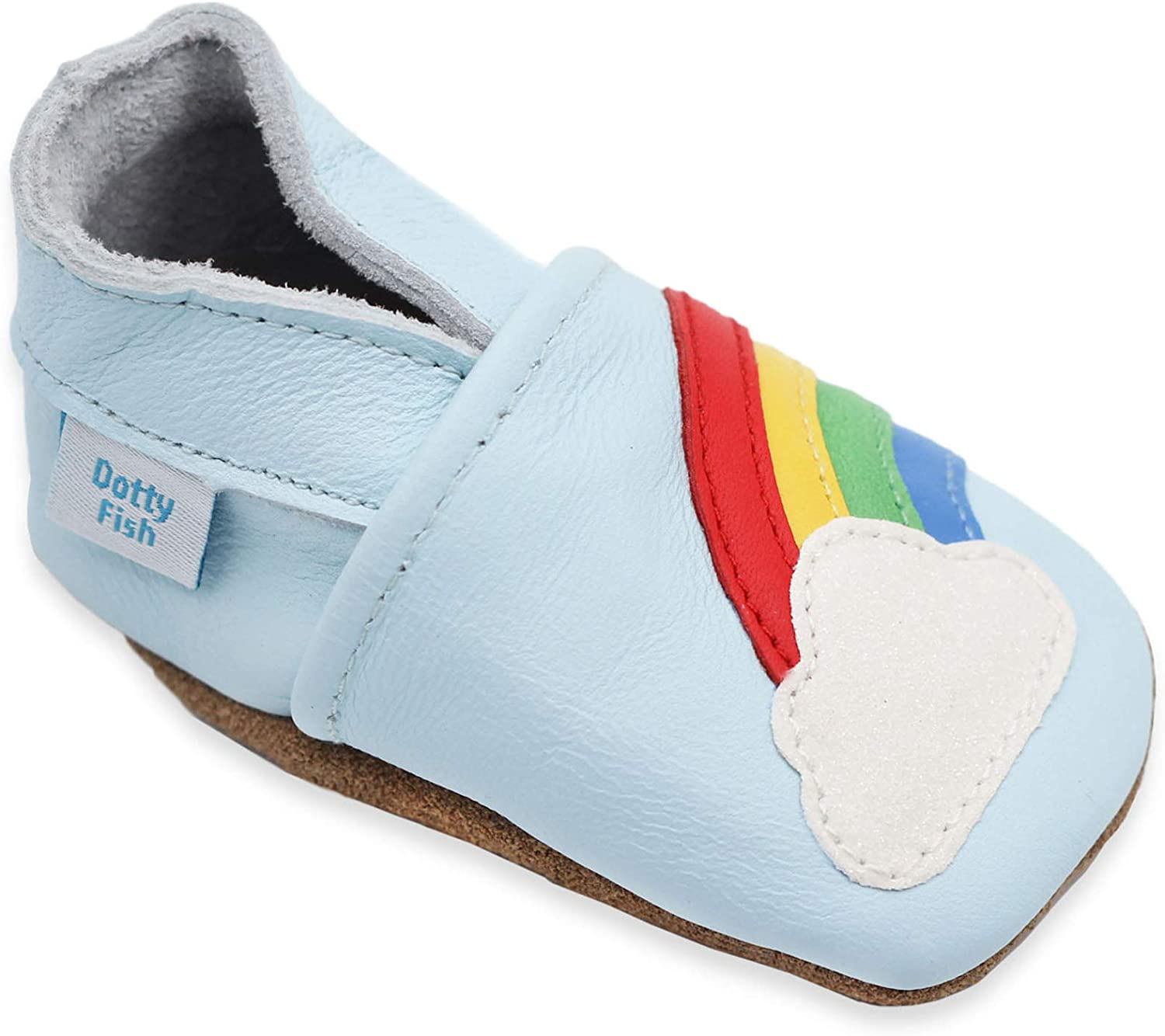 Dotty Fish Soft Leather Toddler Shoes Light Blue with Rainbow. Unisex