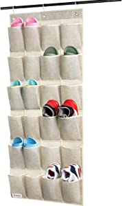 Over Door Hanging Shoe Organizer Criusia, 24 Pockets Hanging Shoe Holder for Storage Men Sneakers, Women High Heeled Shoes and Slippers, Useful for Bedroom Closet Bathroom, Beige