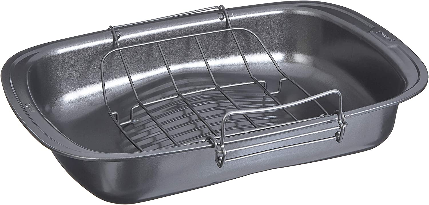 Good Cook 04116 Quick Roaster Pan and locking rack, with juice gathering pools for easier, safer, faster basting, 17x12x3 inches, Gray