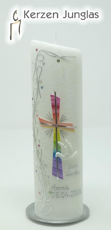 Taufkerze Regenbogen - Junge Mädchen - mit Perlmuttstuktur - silberfarbig mit Swarovski-Steinen - 24x6 cm -1023 - mit