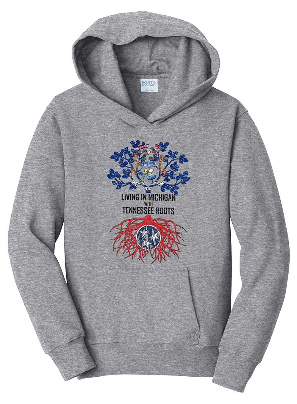 Tenacitee Girls Living in Michigan with Tennessee Roots Hooded Sweatshirt