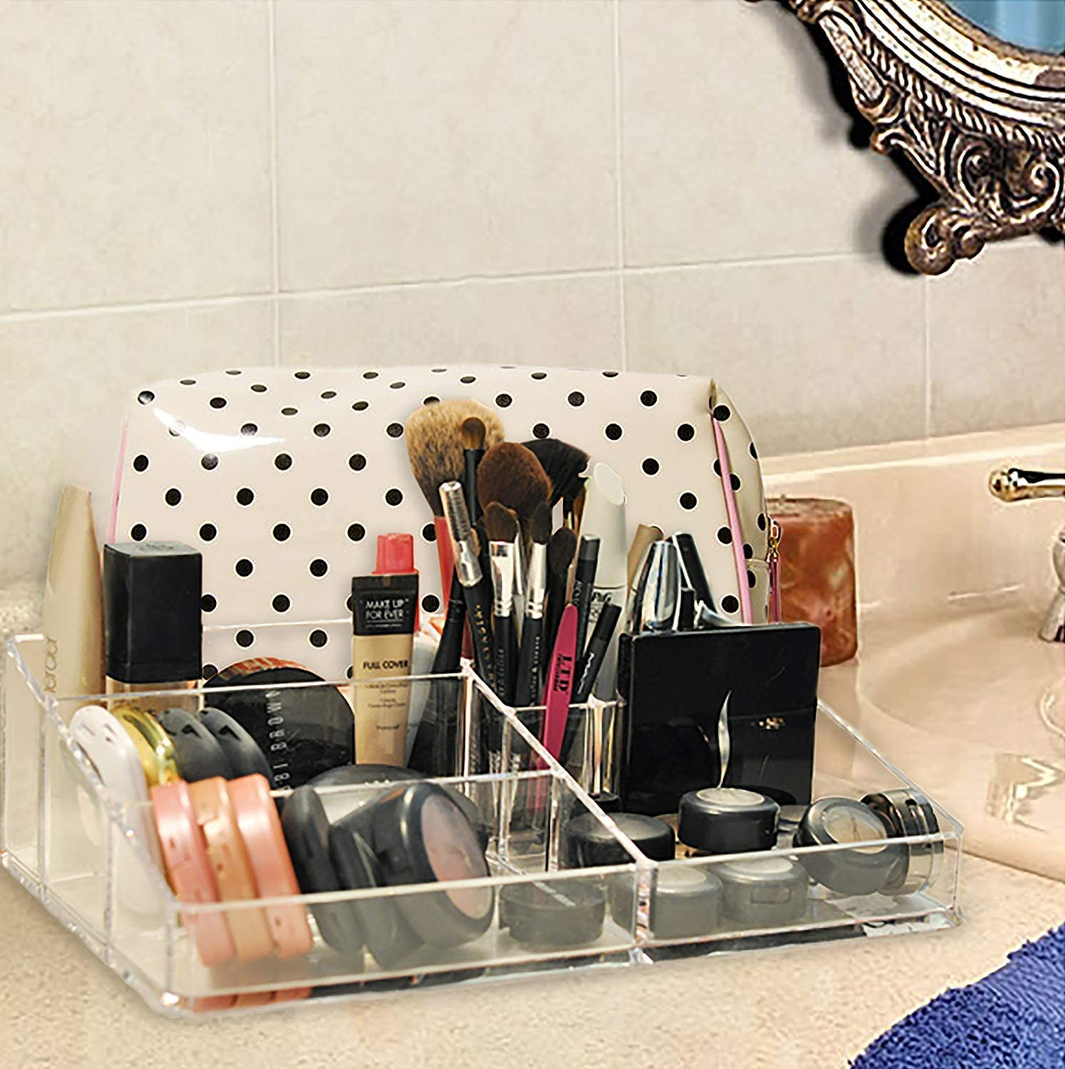 DH077 Decor Hut Acrylic Makeup Organizer Great for Supplies /& Brushes Keeps Everything Organized and Neat at Your Fingertips Easy to Clean Used by Professional Makeup Artist