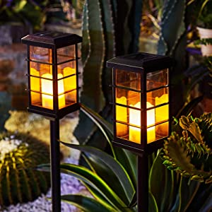 Garden Solar Lights Outdoor Decorative Flickering Candle Stake Lights Table Lantern for Yard, Lawn, Patio, Pathway (2Pack, Black)