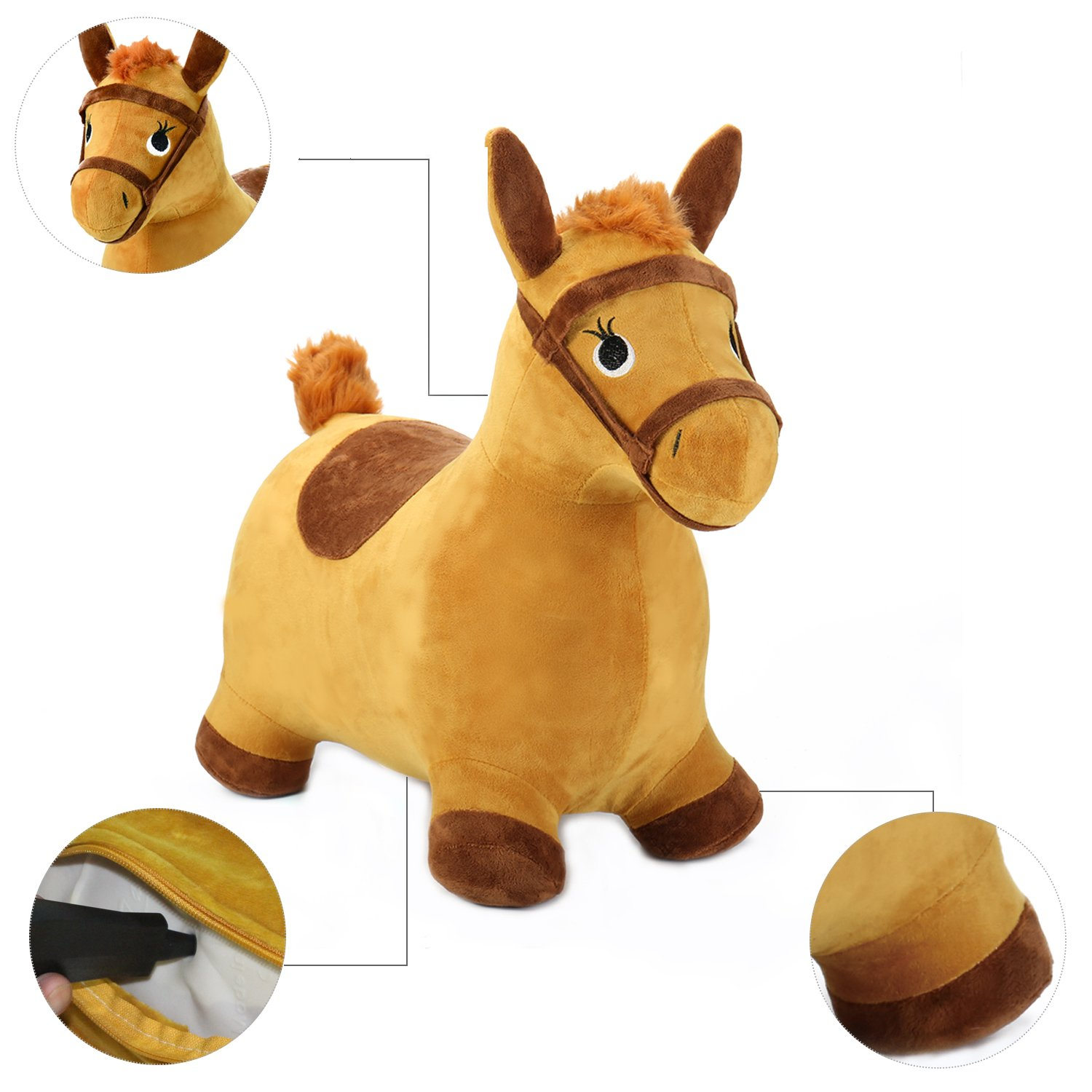 Yellow Hopping Horse Outdoors Ride Bouncy Animal Play Toys