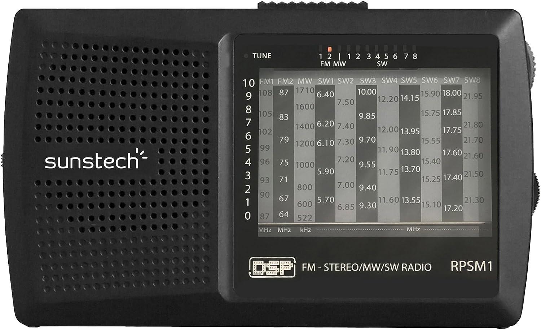 Sunstech RPSM1 - Radio portátil con Altavoz Integrado, Color Negro