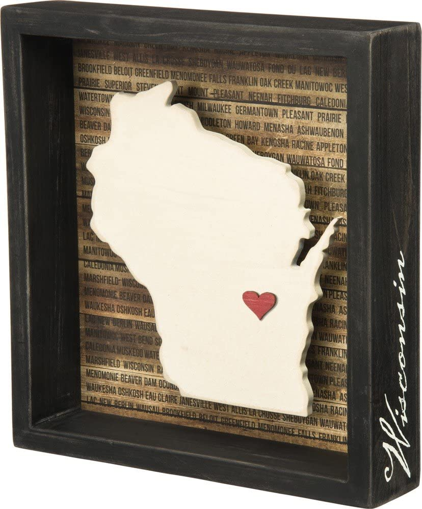 Primitives by Kathy Wanderust Inset Box Sign, 8 x 8.5-Inches, Wisconsin