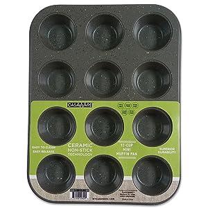 CasaWare Mini Muffin Pan 12 Cup Ceramic Coated Non-Stick (Silver Granite)
