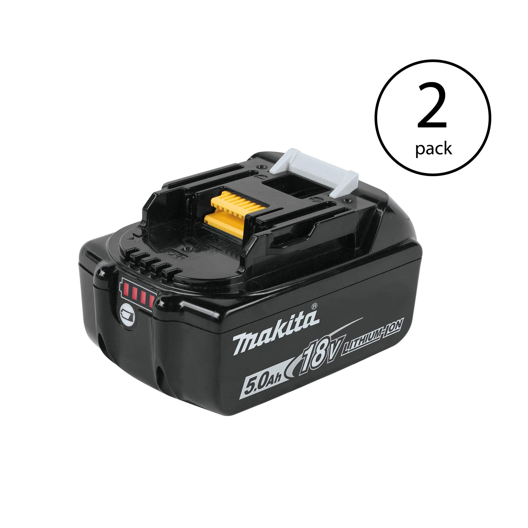 Makita BL1850B 18 Volt LXT Impact Resistant Charging Lithium Ion 5.0Ah Battery (2 Pack)