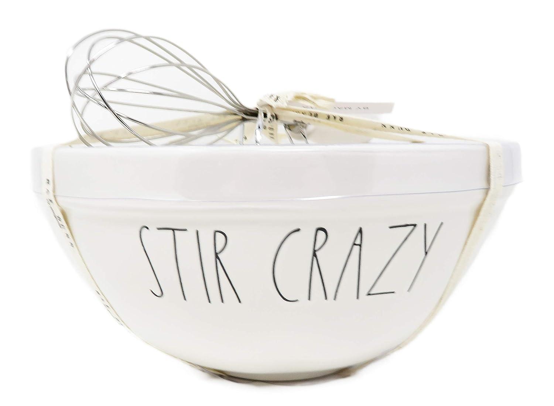 Rae Dunn by Magenta 2 Piece STIR Crazy /& Mix Ceramic LL Mixing Bowl /& Whisk Set