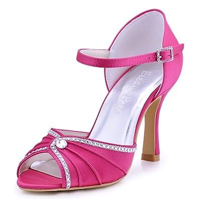 ee77bfec2c8d ElegantPark EL-033 Women s Sandals Peep Toe High Heels Pleated Rhinestones  Satin Evening Party Pumps