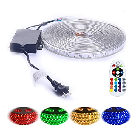 online store 06dfc b632f Shine Decor 14Colors RGB Led Strip Lights, Rope Light, High Voltage  110V-120V, SMD 5050, 16.4ft/roll, with Plastic Tube Cover, Flexible  Indoor/Outdoor ...