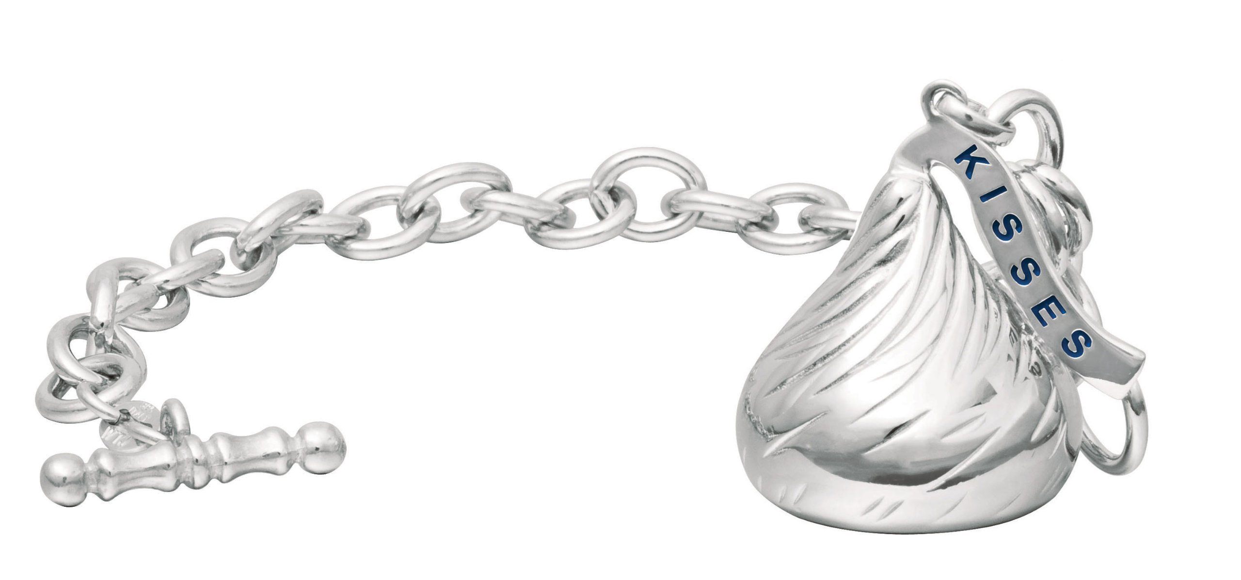 Hershey's Kiss Jewelry Sterling Silver Extra Large 3D Shaped Bracelet with One Hershey's Kiss Charm