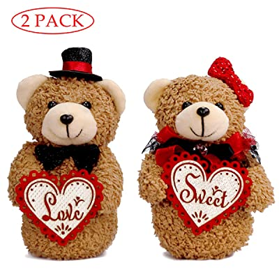 YING LING CRAFTS Small Teddy Bears Couple 2 Pack Handmade Bride and Groom Plush Stuffed Animal Love Sweet Heart for Anniversary Wedding Boyfriend Girlfriend Relationship Lovers Romantic Gifts: Toys & Games