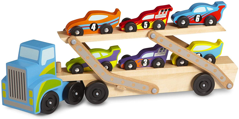 Melissa & Doug- Mega Race-Car Carrier Transportador de Coches de Carreras, Multicolor (12759) , color, modelo surtido