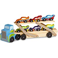 Melissa & Doug Mega Race-Car Carrier, Wooden Tractor & Trailer with 6 Race Cars (Frustration-Free Packaging)