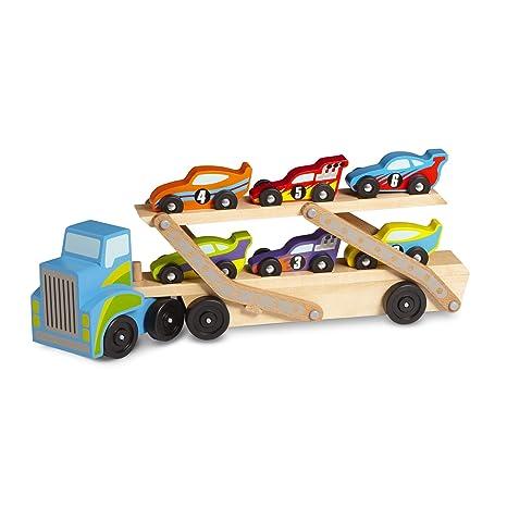 Amazon Com Melissa Doug Jumbo Race Car Carrier Toys Games