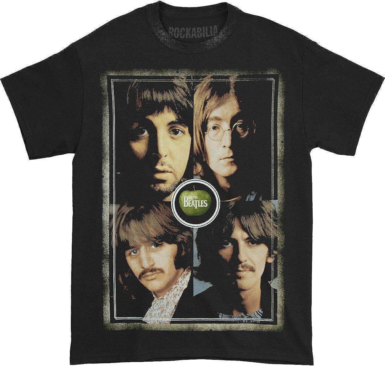 Beatles Men's Faces T-Shirt Black