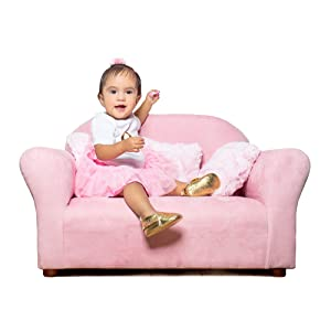 Keet Plush Childrens Sofa with Accent Pillows, Pink