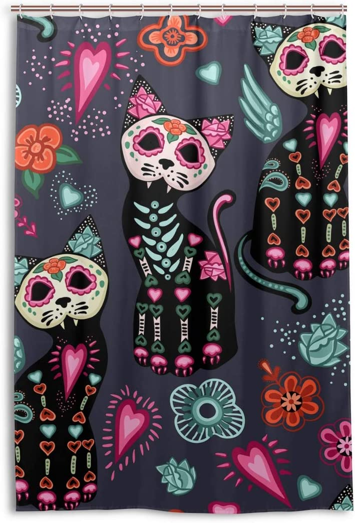 One Bear Colorful Cats Skull The Day of Dead Shower Curtain Liner Window Curtains Home Decor Halloween Dia De Los Muertos Bathroom Sets with 12 Hooks Waterproof Polyester Fabric 48x72 Inch