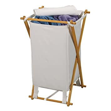 Household Essentials Wood X Frame Hamper With Polyester Bag And Lid