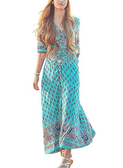 d4f7848aa481e1 Damen Sommerkleider Strandkleider Lang Blumenkleid Maxi mit tiefem V  Elegant Bohemia: Amazon.de: Bekleidung