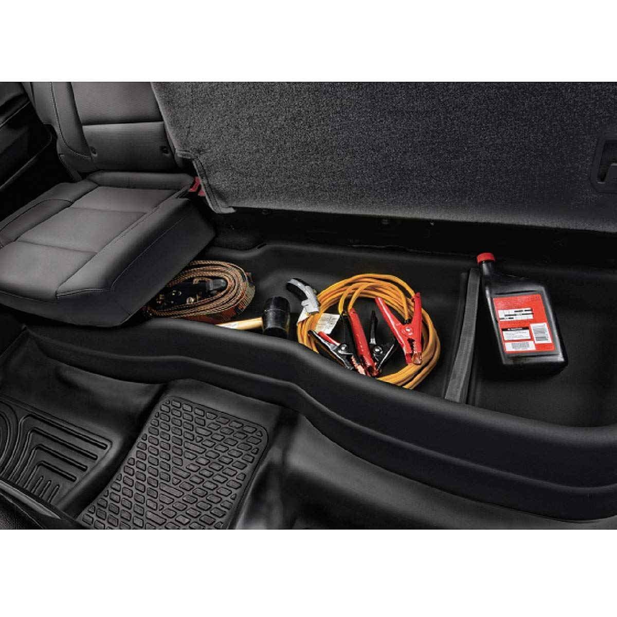 Rear Under Seat Cargo Storage Case Organizer Box for Chevy Silverado GMC Sierra Crew Cab 14-19