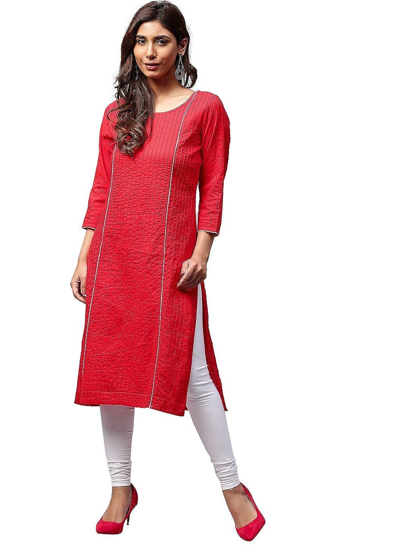 c7d3c0ab413 Amazon.com  Jaipur Kurti Women Red Solid Straight Cotton Kurta  Clothing
