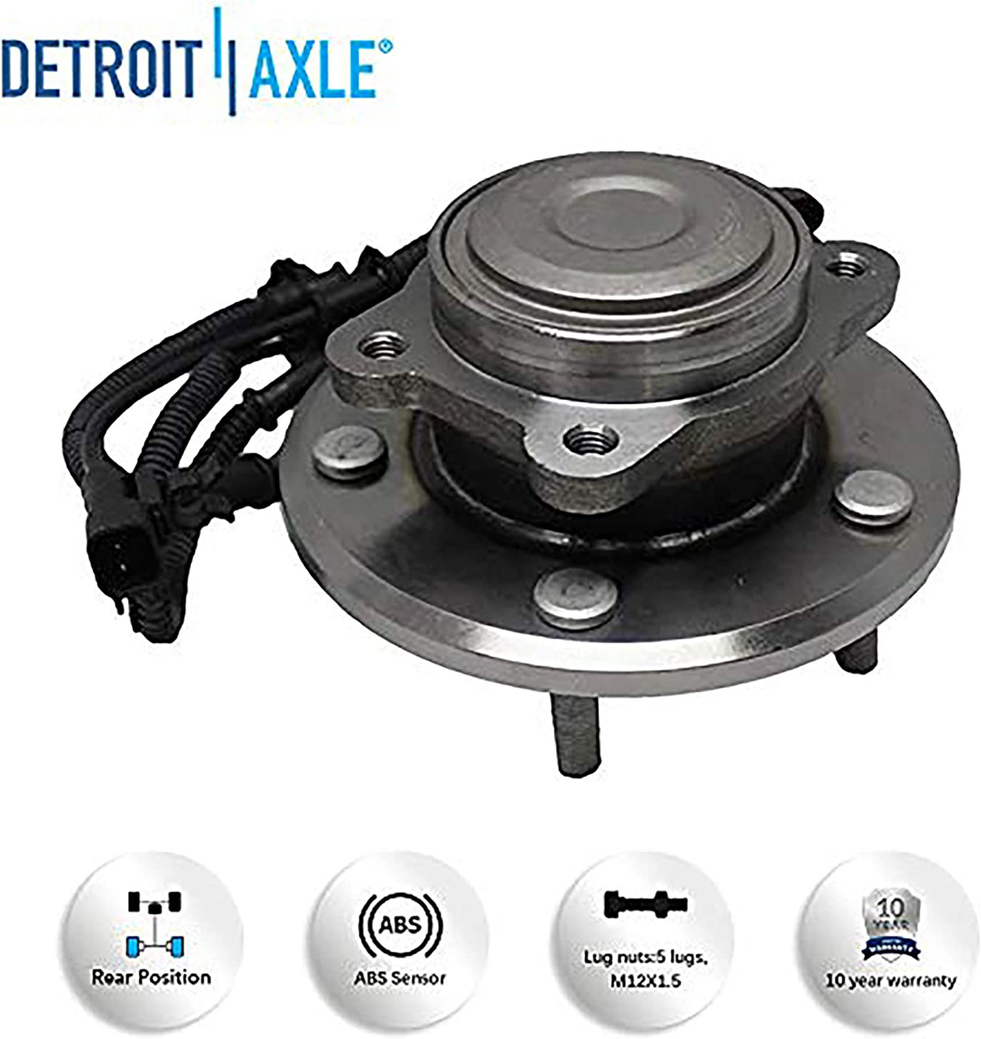 - 2012-2015 Ram C//V - 2013-2014 Volkswagen Routan 512493 Rear Wheel Bearing and Hub Assembly Pair Replacement for 2012-2019 Dodge Grand Caravan - 2012-2016 Town /& Country Detroit Axle
