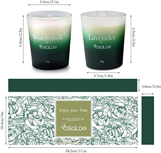 Mimosa Rose 100/% Natural Soy Wax Scented Candles Gift Set /for Stress Relief and Aromatherapy Relaxation Lavender Osaloe Scented Candles 4 x 70g Beach Walk