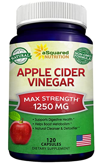 Pure Apple Cider Vinegar Supplement 120 Capsules Extra Strength 1250mg Acv Pills For Weight