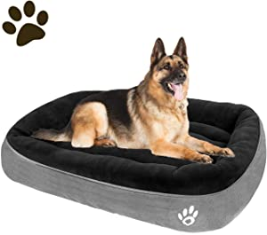 CLOUDZONE Dog Bed for Medium Dogs/Large/Small, Washable Rectangle Pet Bed Thickened Enough with Soft Coral Fleece and Non-Slip Bottom