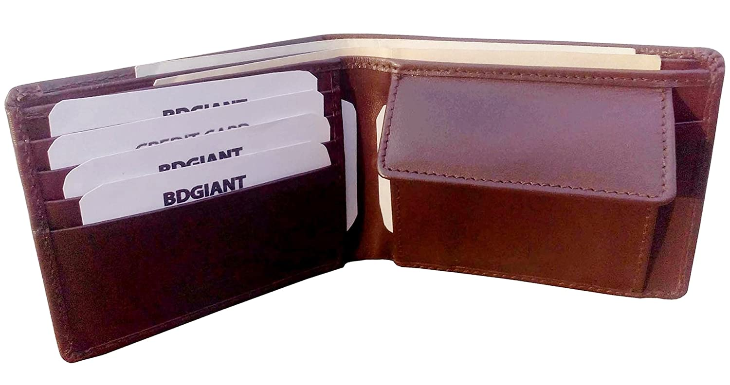 Bdgiant Men's Leather Bifold Credit Cards Wallet with Coin Purse 2 Bill Sections-brown bd189042 P