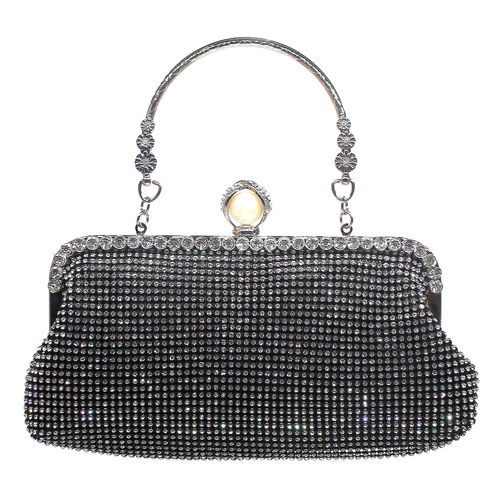 Women Rhinestone Clutches Evening Bags Handbags Wedding Clutch Purse (Black)