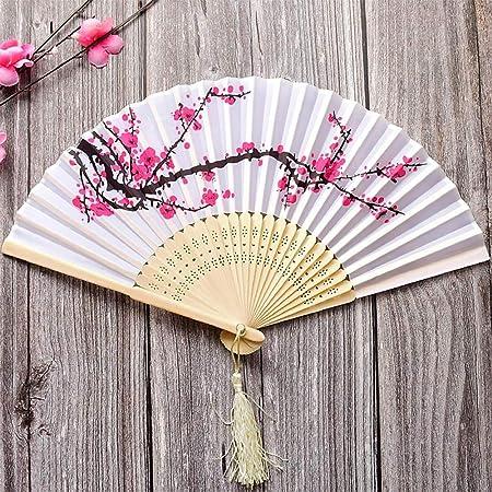 Tomkity Kit 4 Pieza Abanicos de Mano Bambú Telas Plegable Ventilador con Franja Japoné Flor Cereza Regalo Carnaval Azul Boda