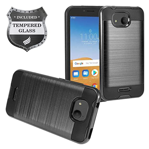 Eaglecell - Alcatel Tetra /5041C - Brushed Style Hybrid Case + Tempered  Glass Screen Protector - CS3 Black